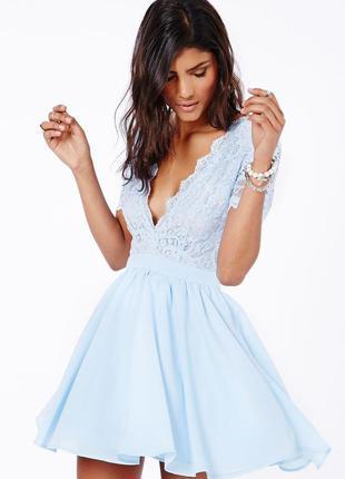 Голубое шифоновое коктейльное платье от missguided с красивой спинкой