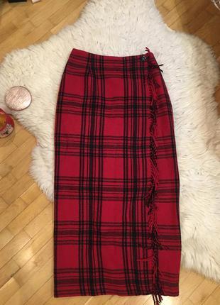 Красная длинная тёплая шерстяная юбка макси одеяло в клетку тартан шотландка
