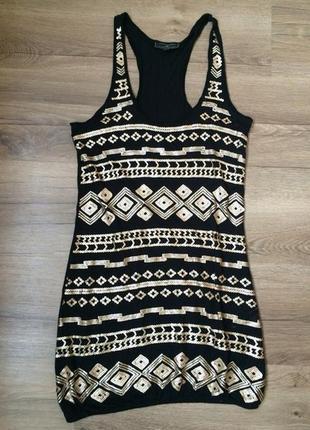 Туника короткое платье орнамент паетки3