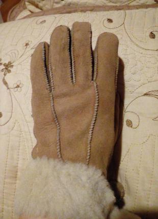 Женские перчатки теплые на меху (дубленка)