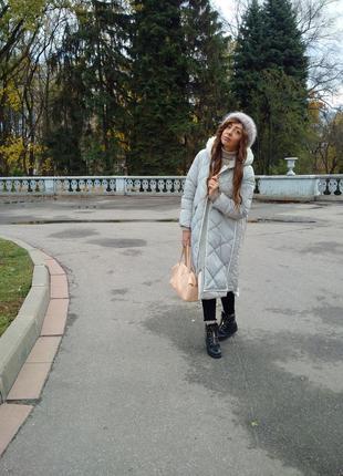Шикарное тёплое длинное пальто-пуховик парка оверсайз одеяло