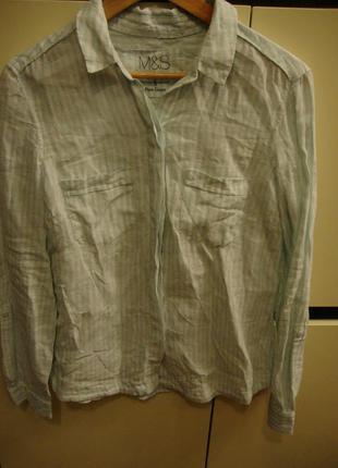 Рубашка, блуза marks & spencer, лен
