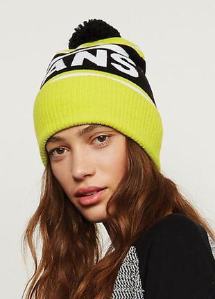 Новая шапка бини vans отворотом бубоном помпоном салатовая желтая спортивная яркая принтом