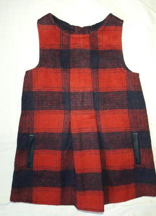 Теплый детский сарафан платье на молнии со вставками кожи