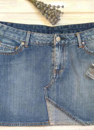 Джинсовая юбка мини коттон