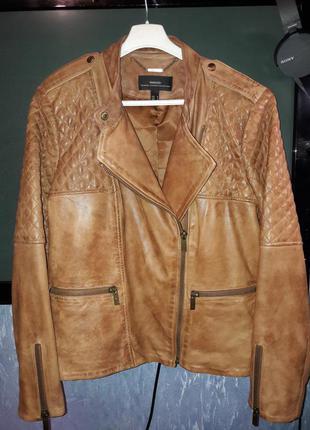 """Кожаная куртка """"mango"""" m-l. 44-46.цена снижена!!!"""