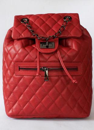 Стеганый красный кожаный рюкзак, borse in pelle италия