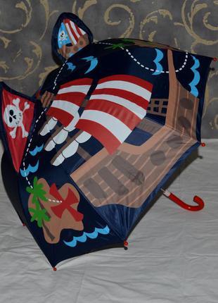 Зонтик зонт механический трость детский для самых маленьких с ушками пираты