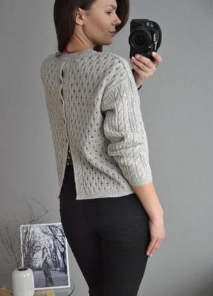 Серый свитер в косы marks&spencer