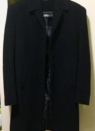 Мужское классическое кашемировое пальто чёрное новое
