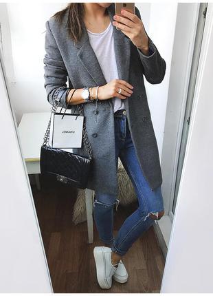 Роскошное трикотажное серое boyfriend пальто от h&m