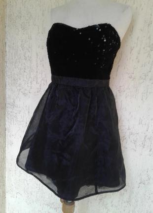 На выпускной черное платье - бюстье с паетками и нейлоновой юбкой, м-l.2 фото