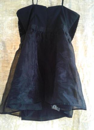 На выпускной черное платье - бюстье с паетками и нейлоновой юбкой, м-l.3 фото