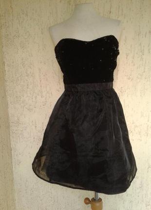 На выпускной черное платье - бюстье с паетками и нейлоновой юбкой, м-l.4 фото