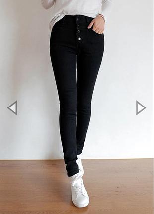Эластичные, стильные, облегающие джинсы высокая посадка утяжка s. gina tricot.