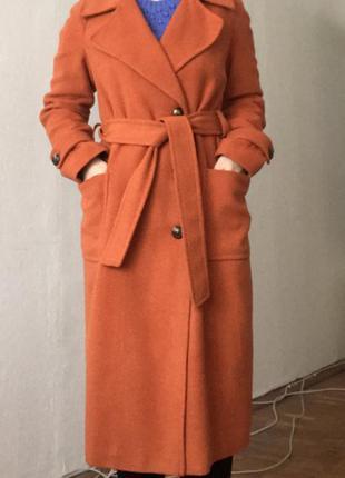 Терракотовое демисезонное пальто