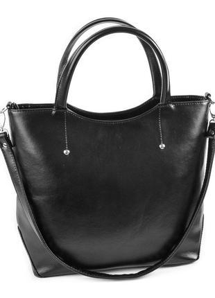 Черная деловая сумка через плечо глянцевая фигурная с ручками