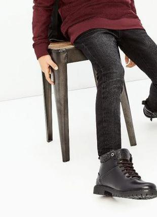 Кожаные демисезонные ботинки zara, размер 30