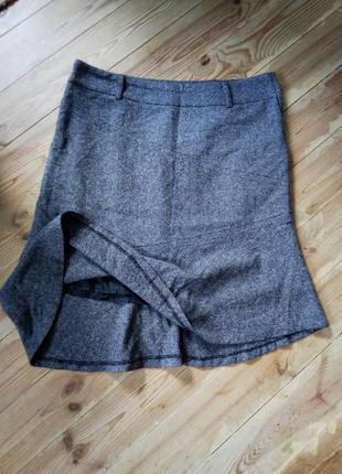 Серая юбка с валаном в стиле шанел,миди,годе,шерсть,шолк,большой размер,трапеция.