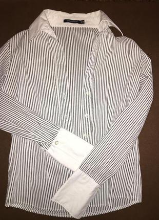 Рубашка в мелкую полоску с манжетами
