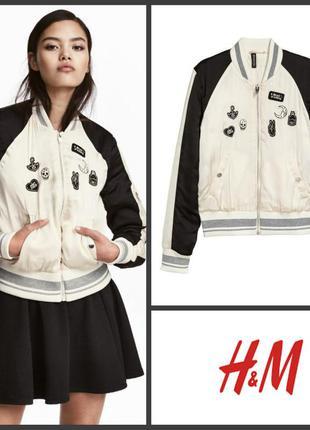 Куртка курточка бомбер утеплённый с нашивками от h&m