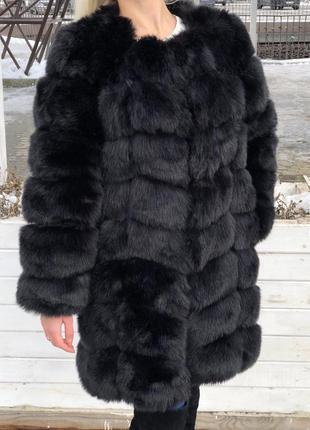 Чёрная длинная женская шуба песец чернобурка 90 см