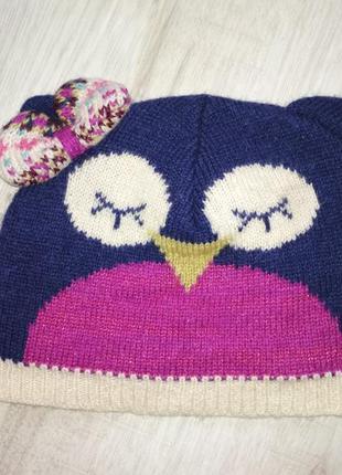 Шерстяная шапуля сова спящая angels 7-12 лет