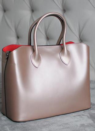 Итальянская сумка шоппер из натуральной кожи