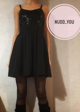 Платье черное с юбкой из шифона
