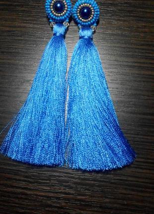 Серьги кисти  hand made синие