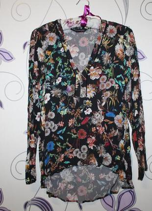 Красивая блуза рубашка zara в цветочный принт
