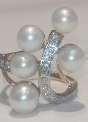Роскошное золотое кольцо 585 проба, бриллианты 17шт жемчуг,  18,5 р+ видео!