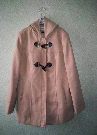 Супер пальто бежевое с капюшоном george