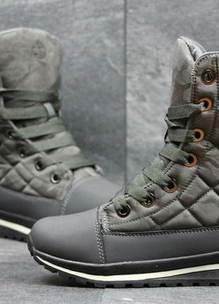 Тёмно-серые женские зимние ботинки