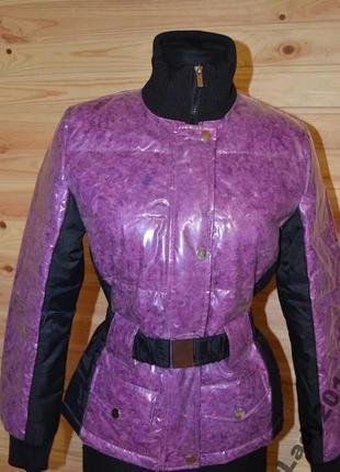 Гламурная дутая куртка пуховик с малиновым пухом прозрачным верхом100%пух.италия bugatti s