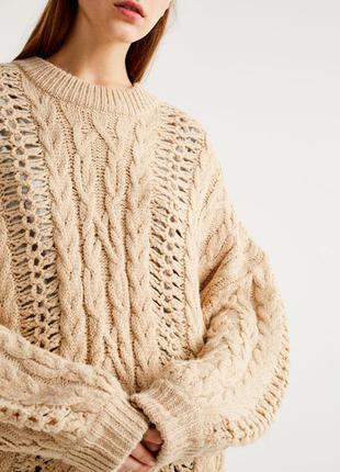 Крутой объемный оверсайз вязаный свитер с большими рукавами - м - можно от м до хл