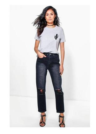 """Черные """"mom-jeans"""" boohoo"""