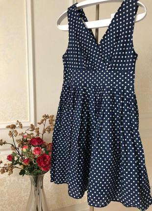 Платье/ сарафан/ molly bracken/синее в горохи/хлопок/на подкладке/ l/xl
