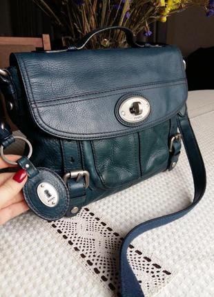 Шикарная кожаная синяя сумка портфель на длинном ремешке фирмы fossil