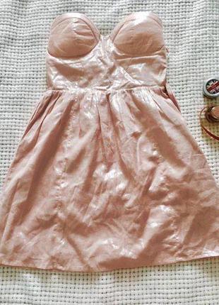 Блестящее коктейльное платье бюстье