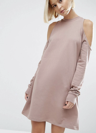 Платье хлопковое asos с открытыми плечами свитшот кофта