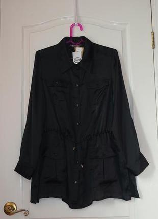 Шикарная легкая удлиненная рубашка с воротником, классическая