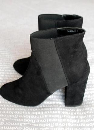 Сапоги короткие челси ботинки new look толстый каблук эко замшевые черные купить цена