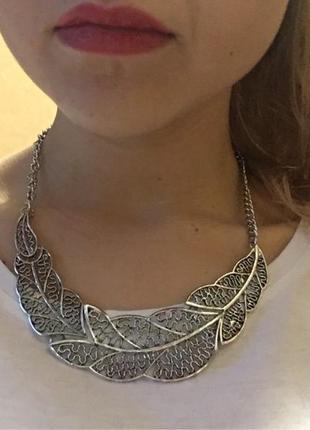 Колье ожерелье на шею перо бохо стиль