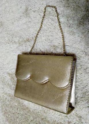 Золотиста мега крута сумочка-клатч