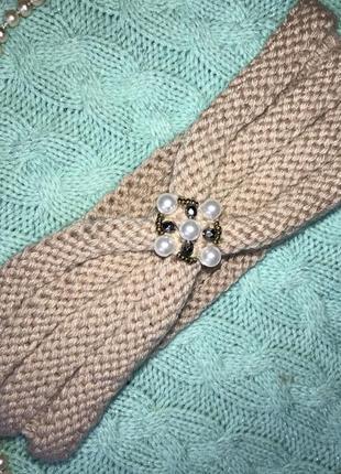 Бежевая повязка чалма с жемчугом и камнями