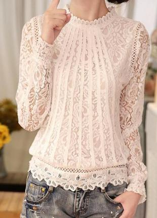 b998d46dacd Красивая белая кружевная блузка