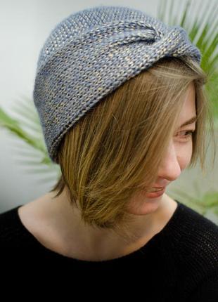 Весняна двостороння шапка чалма золотисто-голуба