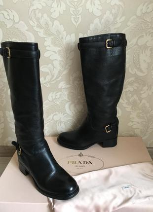 Prada оригинал италия сапоги черные кожаные