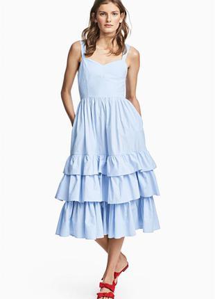 Небесно голубое платье сарафан от h&m 100 проц хлопок! поплин! модель 2018